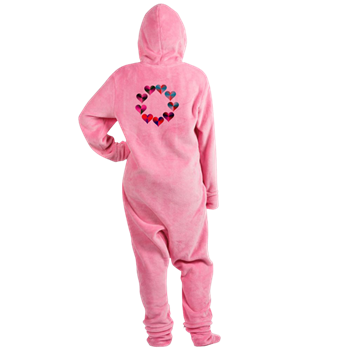 Circle of Iridescent Hearts Footed Pajamas
