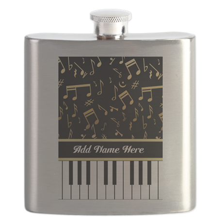 Personalized Piano Keys and Gold Music Notes Flask
