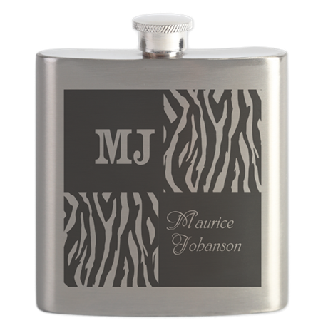 Black And White Animal Print Monogram Flask