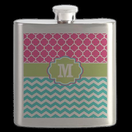 Pink Teal Green Quatrefoil Chevron Monogram Flask