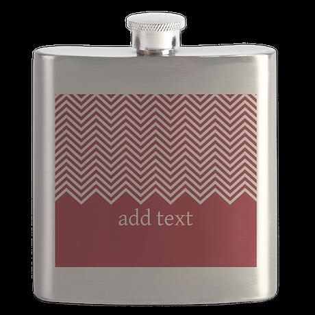 Red White Chevrons Custom Text Flask