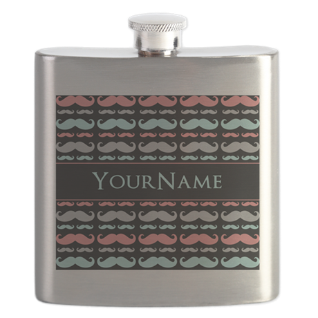 Monogram Girly Mustache Chic Flask