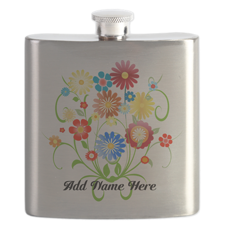 Personalized floral light Flask
