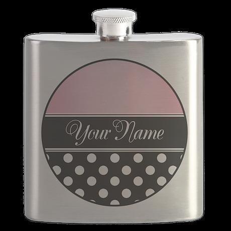 Black Polka Dot Pink Flask
