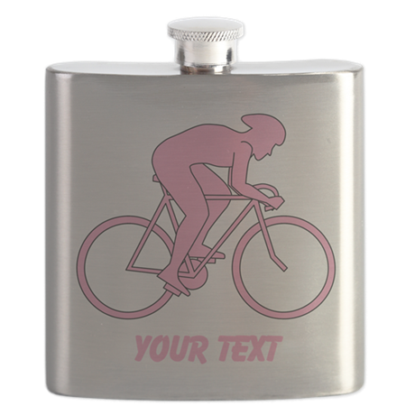Pink Cycling Design and Text. Flask