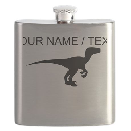 Custom Velociraptor Silhouette Flask