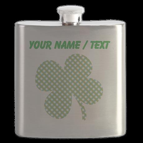Custom Hatchwork Shamrock Flask