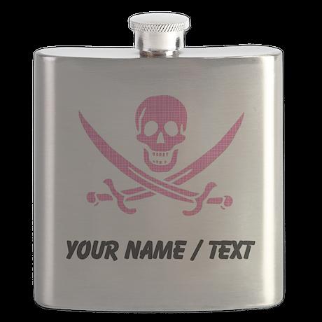 Custom Pink Crosshatch Calico Jack Skull Flask