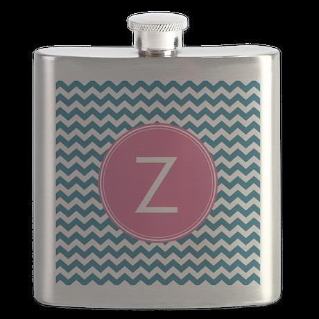 Blue Pink Monogram Flask