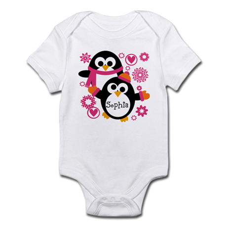 Personalized Hip Penguins Infant Bodysuit