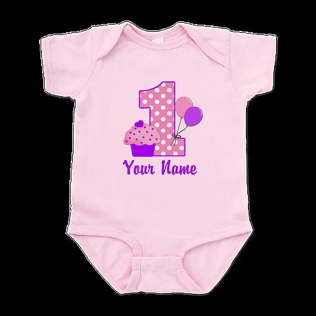 1st Birthday Purple Cupcake Body Suit