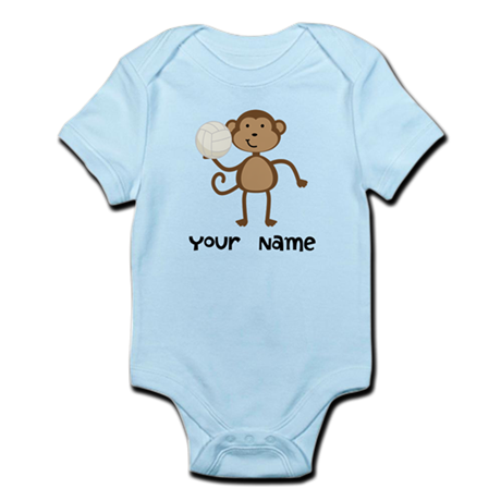Personalized Volleyball Monkey Infant Bodysuit