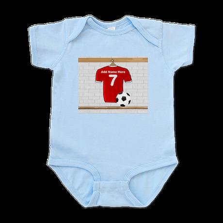 Red Customizable Soccer footb Infant Bodysuit