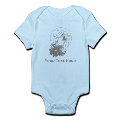 Wolf and Moon. Custom Text. Infant Bodysuit