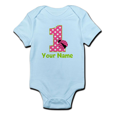 Pink Green Ladybug 1st Birthday Infant Bodysuit
