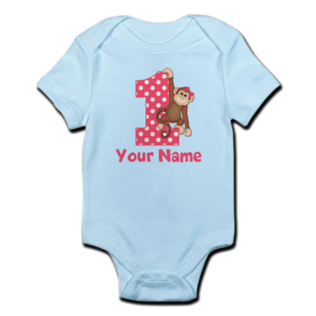 First Birthday Girl Monkey Infant Bodysuit
