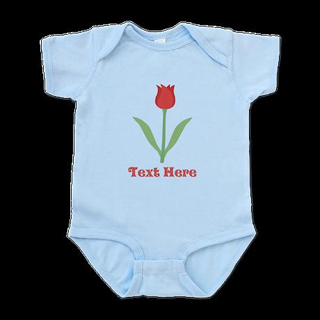 Dark Red Tulip and Text. Infant Bodysuit