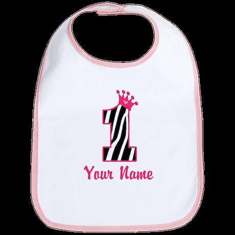 1st Birthday Zebra Bib