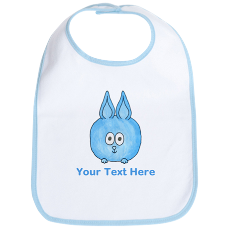 Blue Rabbit. Custom Text. Bib