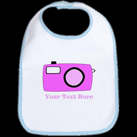 Pink Camera and Custom Text. Bib