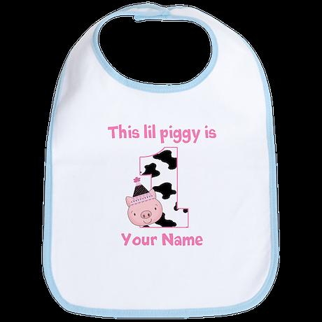 1st Birthday Piggy Bib