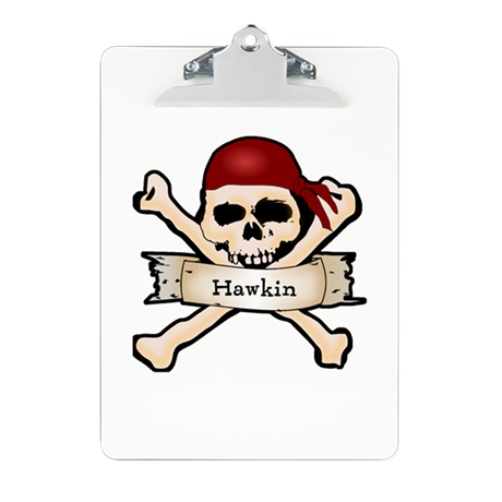 Personalized Pirate Skull Clipboard