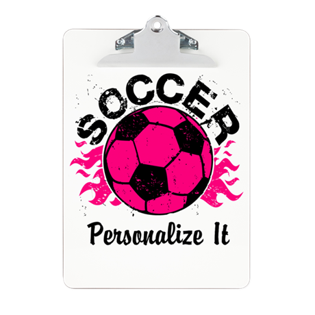 Personalized Soccer Flames Clipboard