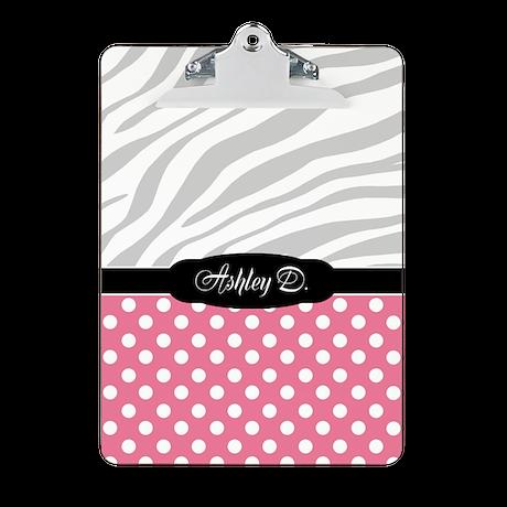 Pink Polka Dot Faded Zebra Print Clipboard