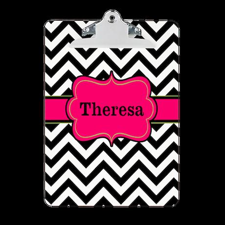 Black Pink Chevron Personalized Clipboard