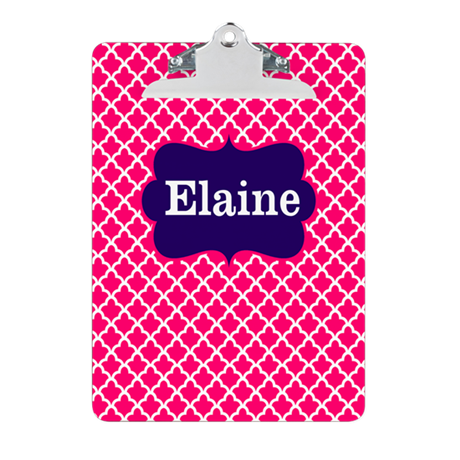 Pink Navy Quatrefoil Personalized Clipboard