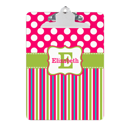 Pink Green Stripe Dots Personalized Clipboard