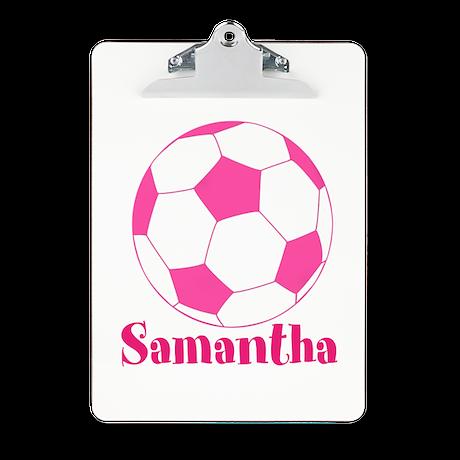 Pink Soccer Ball Clipboard