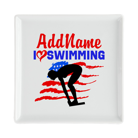 SWIMMER GIRL Square Cocktail Plate