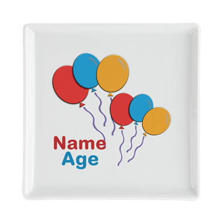 CUSTOMIZE Happy Birthday Any Age Square Plate