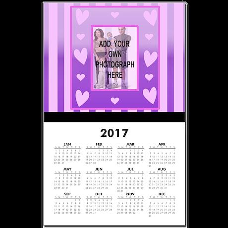 Cute pink love heart photo frame Calendar Print