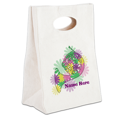 Custom Flower Horn Canvas Lunch Tote