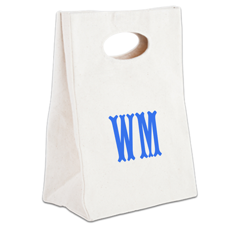 Custom Initials in Blue. Canvas Lunch Tote