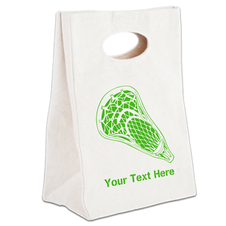 Lacrosse Crosse. Green Text. Canvas Lunch Tote
