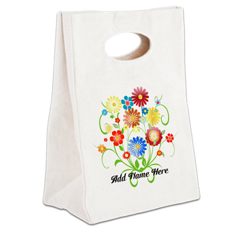 Personalized floral light Canvas Lunch Tote