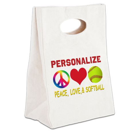 Girls Softball Canvas Lunch Tote