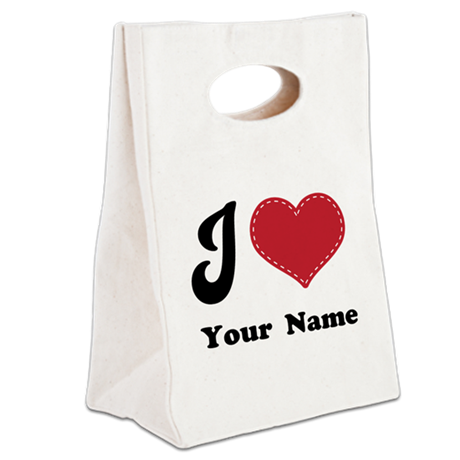 Personalized Red Heart Canvas Lunch Tote