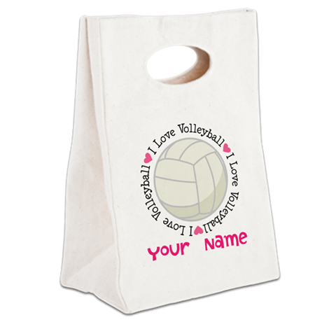 Personalized Volleyball Canvas Lunch Tote