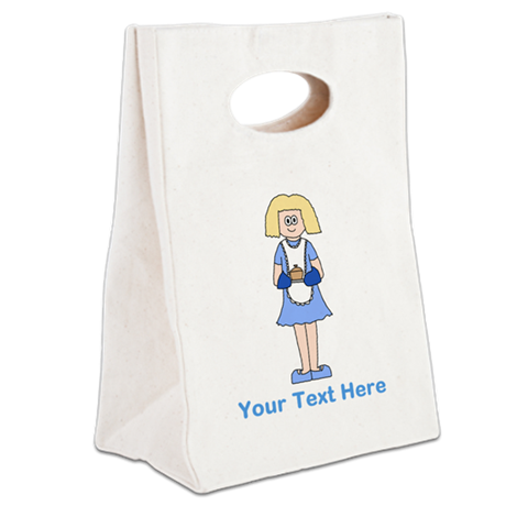 Lady with Dish. Blue Text. Canvas Lunch Tote