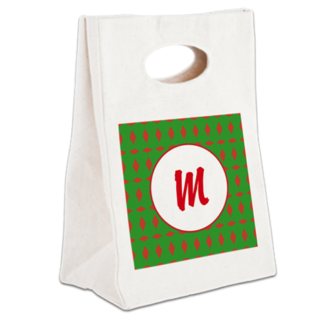 Christmas Wrap Monogram Canvas Lunch Tote