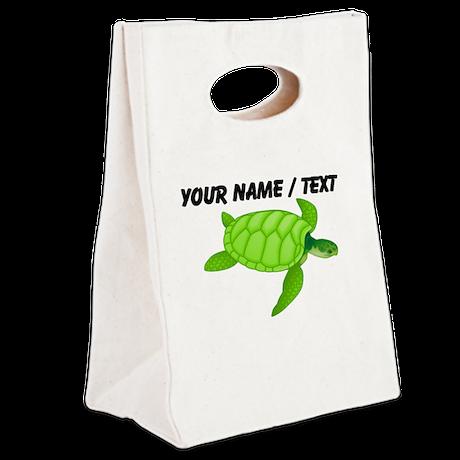 Custom Green Sea Turtle Canvas Lunch Tote