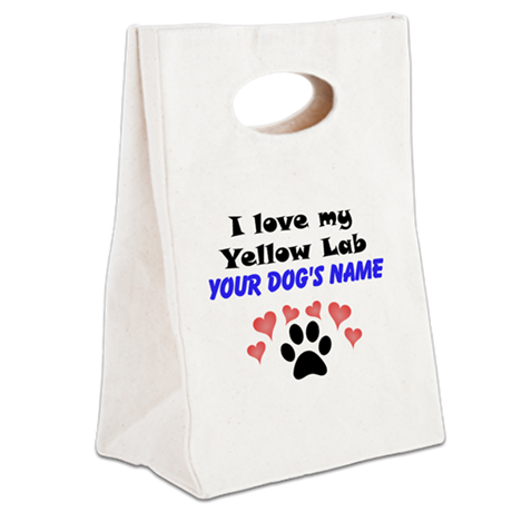 Custom I Love My Yellow Lab Canvas Lunch Tote