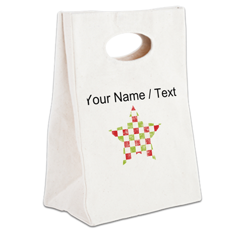 Custom Christmas Star Canvas Lunch Tote
