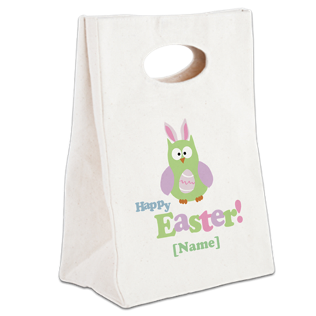 Personalized Happy Easter Owl Canvas Lunch Tote