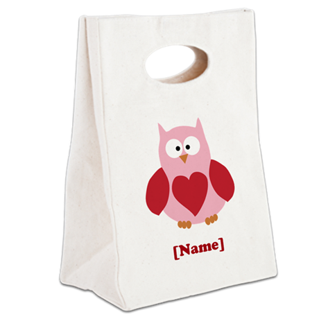 Personalized Plain Valentines Owl Canvas Lunch Tot