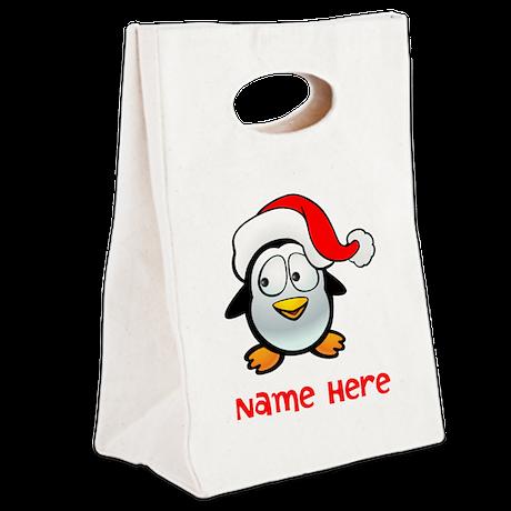 Penguin Santa Canvas Lunch Tote